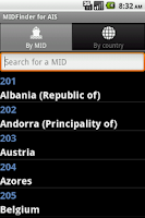 Screenshot of MID finder for AIS