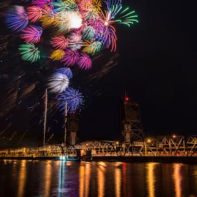 Stillwater 4th by Andy Chow - Public Holidays July 4th ( stillwater, fireworks, lift brdige, july 4th,  )