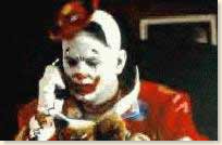 Lauging on the inside type of clown