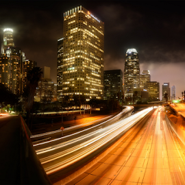 City of Angels by Simon Roppel - City,  Street & Park  Night ( downntown, los angeles, cit, night, roppel, simon, landscape )