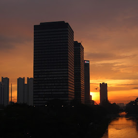 Sunset of Jakarta by Ahmat Supriyadhi - City,  Street & Park  Vistas ( cityscapes, building, indonesia, sunset, jakarta, architecture, cityscape, city,  )