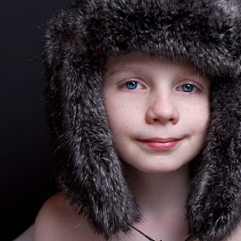 Eskimo by Pamela Lewis - Babies & Children Child Portraits ( child, blue eyes, boy, hat,  )
