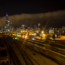 Train Operations from 18th St. Bridge by John Williams - Transportation Trains ( amtrak, union station, chicago, tracks, train yard )