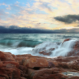 ALL THE MOODS OF THE WATER by Paolo Lazzarotti - Landscapes Waterscapes ( tuscany, emerald water, sunset, waves, seascape, still water, red cliffs )