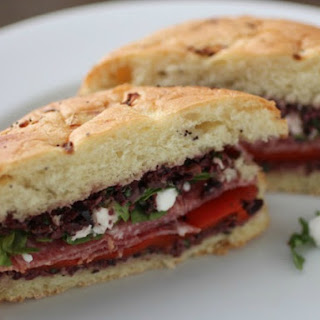 Spicy Salami Sandwich with Olive Tapenade and Goat Cheese