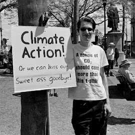 Climate Action! by Andrew Rock - News & Events Politics ( sign, canon eos 1n, australia, protest, kodak tri-x 400,  )