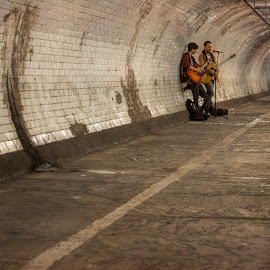 Music by Greg Brzezicki - People Musicians & Entertainers ( music, people, greenwich, man, tunnel )