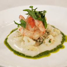 Butter-Poached Spot Prawns with Israeli Couscous