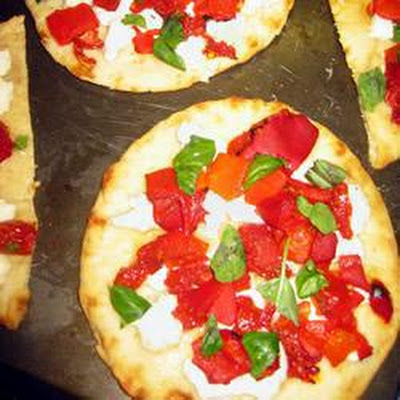 Sun-Blush Tomato, Red Pepper and Goat Cheese Pizzas