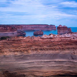 Great Ocean Road Scenery by Thanashyam Raj - Landscapes Caves & Formations ( clouds, australia, sea, rock, ocean,  )