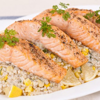 Broiled Salmon With Sweet Corn and Barley Risotto CBC Best Recipes Ever