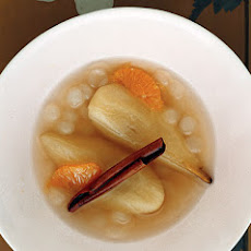 Tea-Poached Pears with Tapioca Pearls and Satsumas