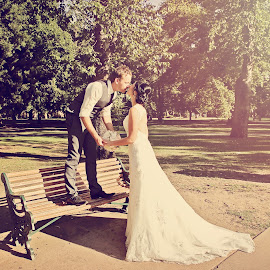 by Alan Evans - Wedding Bride & Groom ( wedding photography, kissing, wedding day, wedding, aj photography, park bench,  )