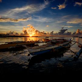 Just Sunset by Ferdinand Ludo - Transportation Boats ( back of the two boats, fishing boats, sunset, cordoba )