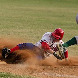 Sliding into 3rd by Cheryl Waring - Sports & Fitness Baseball