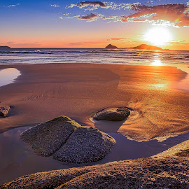 Golden Sand by Keith Walmsley - Landscapes Sunsets & Sunrises ( water, clouds, sunset, landscape, rocks )
