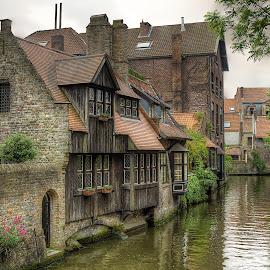 Bruges by Dmitriy Andreyev - City,  Street & Park  Street Scenes ( bruges, belgium, canal )