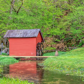Spring House Reflected by Ann Allison - Buildings & Architecture Other Exteriors ( aallisonimages, red spring house, country image, spring house photograph, water wheel, ann allison photography )