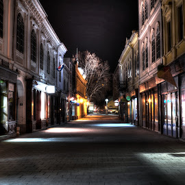 Street at night by Vanja Vidaković - City,  Street & Park  Street Scenes ( vukovar, street, croatia, night,  )