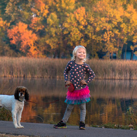 Ms by Mark Esslinger - People Family ( reflection, fall, pets, children, kids, dog, pond, color, colorful, nature )