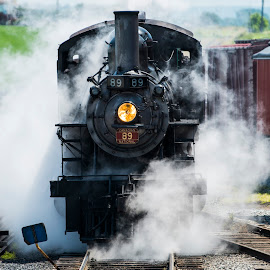 Blowing Off Some Steam by Robert England - Transportation Trains