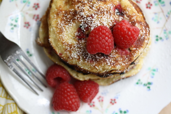 Sweet Almond Pancakes with Fresh Raspberries Recipe | Yummly