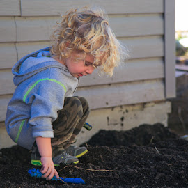 Boy, Shovel, Dirt! by Roberta Janik - Babies & Children Children Candids ( playing outside, playing in the dirt, shovel, blonde boy, toddler, boy )
