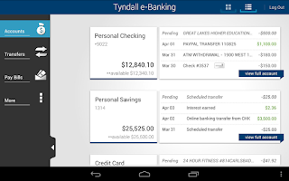 Screenshot of Tyndall e-Banking