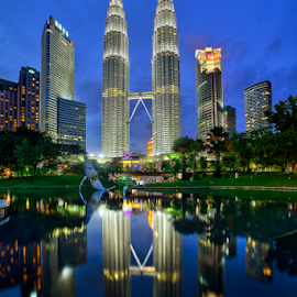 The Twin Towers at Sunset by Nur Ismail Mohammed - Buildings & Architecture Office Buildings & Hotels ( mirror, klcc, reflection, hdr, sunset, blue hour, twin towers )