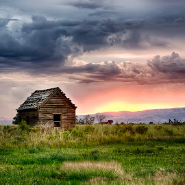 Little House on the Field by Kevin Miller - Landscapes Prairies, Meadows & Fields ( clouds, field, mountains, utah, shack, sunset, storm, rain )