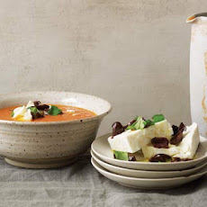 Chilled Tomato Soup with Aged Feta and Olives Recipe