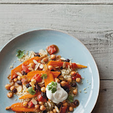 Braised Chickpeas and Carrots with Yogurt Topping