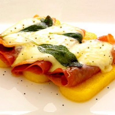 Grilled Polenta with Sage, Parma Ham and Melted Fontina Cheese