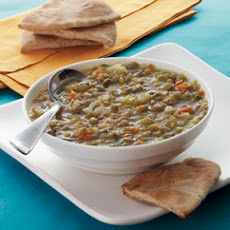 Greek Lentil Soup with Toasted Pita