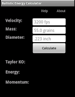 Screenshot of Ballistic Energy Calc