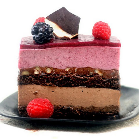 Chocolate Panna Cotta – Berry Mousse Cakes with Hazelnut Ganache