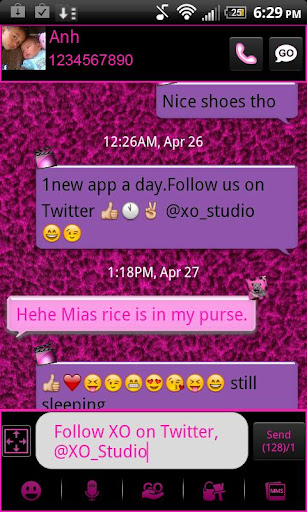 Pink Leopard theme GO SMS PRO