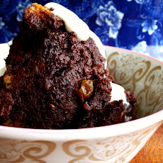 Chocolate Rum Raisin Bread Pudding with Spiced Rum Sauce