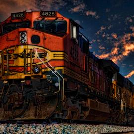 Night Train by Michael Buffington - Transportation Trains ( orange, train )