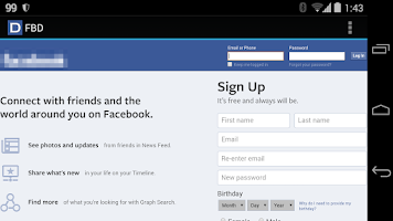 Screenshot of FBD for Facebook