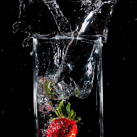 strawberry water splash by Ng Chee - Food & Drink Fruits & Vegetables