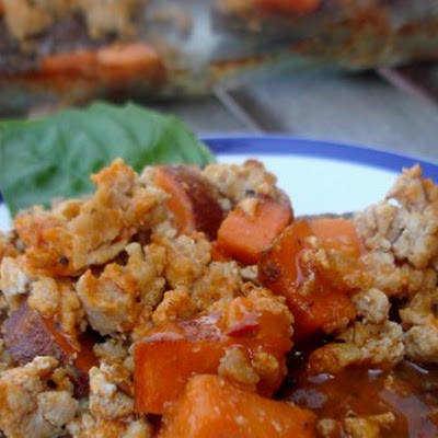 Buffalo Chicken and Sweet Potato Meatza