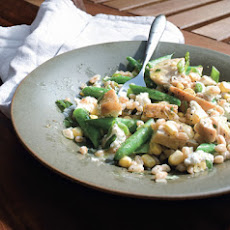 Chicken, Green Bean, Corn, and Farro Salad with Goat Cheese