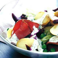 Warm New Potato Salad With Beetroot And Pastrami
