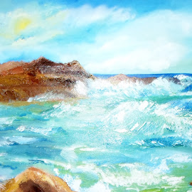 Ocean's waves  by Livia Copaceanu - Painting All Painting ( waves, ocean )