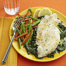 Lemon-Garlic Broiled Flounder with Spinach