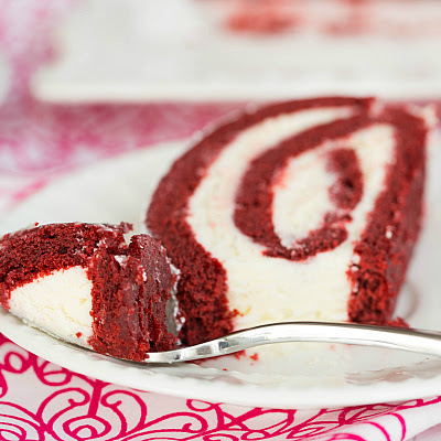 Red Velvet Roll Cake with White Chocolate-Cream Cheese Filling