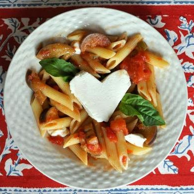 Penne with Eggplant and Mozzarella