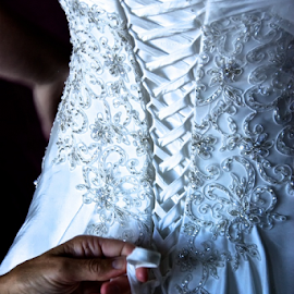 Mom's Hands by Doug & Coleen Walkey - Wedding Details ( lace, preparation, hands, dress, wedding, ties, bride, brocade )