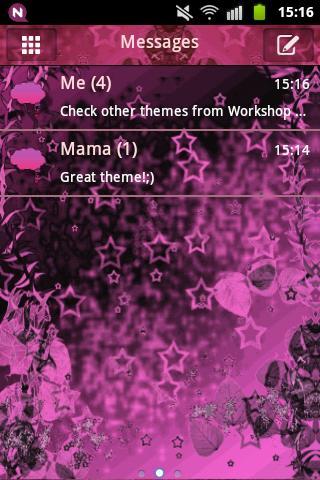 のテーマピンクダークスターをGO SMS Theme Pin